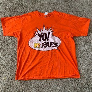 "MTV ""Yo Raps"" Orange Men's 2XL T Shirt Hip Hop Tee"